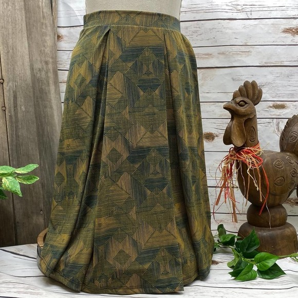 LuLaRoe Madison Skirt XL Gold Gray Geometric XL